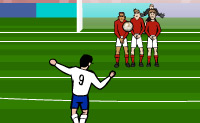Chuta a bola por cima da barreira ou directamente para a baliza. Tens de chutar com força suficiente!