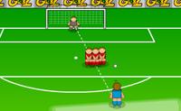 Chuta a bola através da barreira e faz com que a bola entre na baliza!