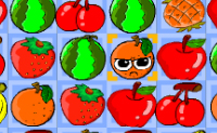 Fa�a combina��es de 3 frutos iguais para os remover do quadro de jogo.