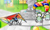 Ajude o cão a voar no seu parapente e a evitar os obstáculos.