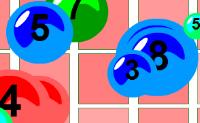 Clique numa bolha para gerar uma reacção em cadeia. Tente explodir os números!
