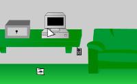 Está trancado numa estranha sala verde. Tente escapar, usando objectos.