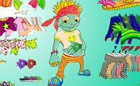 Ajude esta divertida criatura verde a escolher algumas roupas.