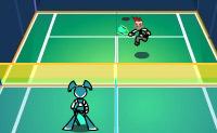 Neste jogo de esportes do futuro, o Dr. Wakeman construiu uma pista de tenis onde Jenny, nossa robô adolescente, poderá jogar contra Brad para treinar seus reflexos.