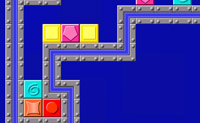 Tenta fazer com que 2 ou mais blocos iguais despareçam colocando-os uns ao lado dos outros. Para isso, utiliza levantar e baixar.
