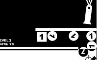 Tenta atingir os blocos. Apenas podes atirar sobre os blocos que têm o mesmo número da caixa.
