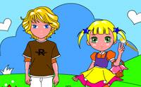 Pinta estas 2 crianças o mais bonito possível.