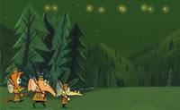 Clica nas figuras de desenhos animados para apanhares pirilampos. Os três heróis de desenhos animados saltam todos em alturas diferentes.