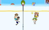 Joga um jogo de voleibol contra vários oponentes.