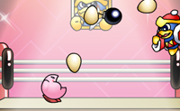 Usa o Kirby para apanhar todos os ovos que o Rei DeeDee atira, mas tem cuidado para não apanhares bombas.