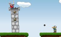 Apanha todas as bolas de canhão e atira-as à torre. Logo que destruas a torre ganhas.
