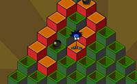 Salta por cima dos blocos para os tornares laranja. Logo que estejam laranja aparecem as escadas para passar ao nível seguinte. Cuidado para não seres atingido pelas balas grandes.