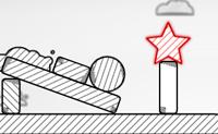 Tenta aterrar a estrela vermelha na plataforma, removendo todos os blocos em que ela está situada.
