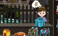Tenta manter as crianças felizes e vende-lhes os brinquedos que elas pedem. Para dar brinquedos a uma criança tens de arrastar uma caixa para o contador. Depois pões o brinquedo e tens de embrulhar tudo com papel de embrulho. Finalmente selecciona um laço que condiga com o papel para poderes dar a caixa às crianças.