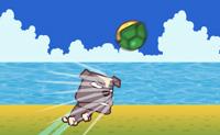 Tenta atirar a tartaruga o mais longe possível. Quando a tartaruga aterra vês a combinação de teclas que tens de pressionar para a tartarura voar para ainda mais longe.