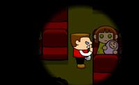 És o guarda de segurança do cinema e tens de garantir o silêncio durante as sessões. Diz às pessoas para se calarem quando fazem barulho para que haja silêncio na sala outra vez.