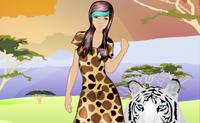 Na selva um ar felino pode ser muito útil. Escolhe para esta rapariga uma mistura de vestidos, camisas e/ou calças e depois adapta o seu corte de cabelo e acessórios.