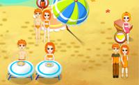 Tenta servir estes visitantes da praia o melhor possível para que passem um grande dia na praia. Acima das suas cabeças vês um círculo com os objectos que eles precisam. Na barra em baixo podes clicar nesse objecto, e depois clicas na pessoa que o pediu.