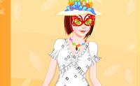 Tenta vestir esta rapariga com a tua própria criação! Usa diferentes estilos para desenhar o vestido perfeito.