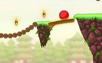 Garante que a bola vermelha aterra na árvore oca, para que passes ao nível seguinte. Coloca paus para que não caias no abismo. Cuidado: os paus apenas duram dois segundos, logo não os coloques demasiado cedo!