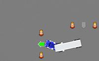 Demonstra as tuas habilidades de condução de camiões passando 10m testes de condução. Se tens o que é preciso, é premiado com uma carta de condução de camiões gigantes! Passa pelas setas verdes para passar o teste. Cuidado, se atingires um cone, danificas o teu camião. Quando a barra de estragos estiver completamente cheia, o jogo acaba.