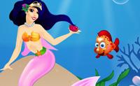 A Princesa Sereia tem de ser vestida para um banho real pelo oceano! Podes ajudá-la a parecer bonita para todos os peixes verem?