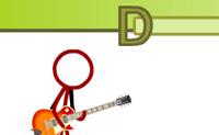 Ap�s escolher uma guitarra, dificuldade e uma can��o, podes iniciar o jogo com o bot�o Pronto. Os comandos movem-se ao longo do ecr�, o objectivo � pressionar a tecla correspondente quando o comando atinge a barra de tempo. Cada comando correcto d�-te 10 pontos mas pressionar uma tecla no tempo errado c