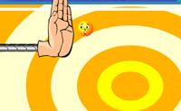 Desfruta deste Arkanoid horizontal! Move a mão para apagar todos os smileys.