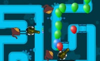 Joga esta vers�o de Defesa da Torre colocando torres que t�m de atirar nos bal�es.
