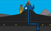 Tens que escavar todo o ouro, mas cuidado com as criaturas: se elas tocam na tua máquina, ela parte-se!