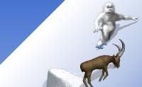 Yeti vai fazer snowboard nos Alpes. Tenta ser o primeiro e faz acrobacias fixes quando saltares das rampas!
