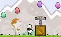 Tenta sobreviver o mais que conseguires neste jogo louco! Salta por cima de todos os obstáculos e apanha ovos para aumentar a pontuação. O ovo dourado contém surpresas. Activa-as com a barra de espaços. Diverte-te!