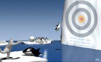 Tenta deixar o pinguim aterrar no meio do alvo através da bola de neve que atiras ao pinguim.