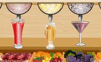 Prepara os sumos que os clientes querem antes que o tempo se esgote. Arrasta os copos para as taças de fruta, enche-os e serve-os aos clientes. E não te esqueças das palhinhas e chapéus, usa as cores que eles querem.