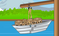 Equilibra os pequenos barcos pondo caixas da mãe barco neles. Cuidado com o número de caixas, elas são a chave para uma solução rápida. Diverte-te!