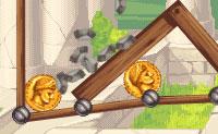 Neste jogo, tens de esconder César. Em cada nível, tens de proteger uma ou mais moedas com a face de  César de uma tonelada de pedras em queda. Pensa cuidadosamente, pois só tens um número limitado de materiais para o fazer. Boa sorte!