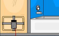 Entras numa casa de banho e descobres que estás presa. Procura materiais que possas usar para fugir e foge o mais rápido que consigas.