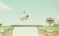 Esta família de ovelhas quer ir para casa no seu celeiro. Apanha todas as ovelhas para o ponto de encontro no sinal da seta.