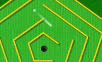 Boa, mini golfe! Escolhe a cor da tua bola de golfe e a do teu taco. Depois joga um curso de doze buracos de golfe em miniatura.
