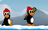 Neste jogo os pinguins lutam uns contra os outros. Aponta bem e atinge os outros pinguins.