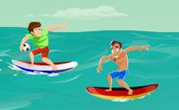 Fica na tua prancha de surf o máximo de tempo que possas. A equipa dos opositores está lá para te atirar da tua prancha todas as vezes que tenham a oportunidade!