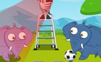 Os animais da selva estão a jogar um torneio de futebol. Agora é a vez dos elefantes de fazerem os chutos, mas um deles está a fazer batota. Sê um bom cúmplice e usa um truque cada vez que o árbitro está desatento.