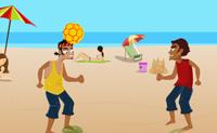 Joga um jogo de futebol de praia. Mantém os olhos na bola e cabeceia-a de volta. Se falhares, o adversário ganha um ponto.