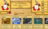 Este é um jogo de desempenho de personagens no qual tens de derrotar o teu adversário jogando as cartas estrategicamente. Há cinco diferentes cartas de 'Efeitos' que podes jogar: 'Dano' para magoar o adversário, 'Dreno' para roubar a sua saúde, 'Dreno Karma' para roubar o seu bom karma, 'Saúde' para te curares e 'Combo' para jogar várias cartas ao mesmo tempo. Há também oito 'modificadores' com os quais podes alterar os efeitos das tuas cartas. Entre mundos de níveis podes comprar cartas com o dinheiro que ganhaste. Boa sorte!