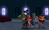 Os amigos do super herói Batman foram raptados por vilões! Agora é com o Batman resgatá-los. Os ícones vermelhos no ecrã dizem-te onde os teus amigos estão. Tem cuidado, contudo, os vilões batem com força e há bombas atadas aos guarda chuvas que custam a sua vida. Antes de dares por isso o jogo acaba. Boa sorte!
