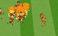 Olha bem para isto: um dessas miúdas de vestido muito curto está a correr pelo campo de futebol! Mantêm-na fora do alcance dos furiosos adeptos do futebol, continua a fugir deles o mais que consigas. Boa sorte!