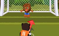 Experimenta este divertido jogo de futebol da selva! O leão desafiou o chimpanzé para um jogo de remates de onze metros. Agora é com o chimpanzé marcar tantos golos quantos possível. Determina o ângulo e a direcção da bola cuidadosamente e marca alguns belos golos!