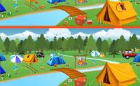Duas imagens de um parque de campismo são mostradas. À primeira vista, parecem iguais, mas se olhares com mais atenção, vês que há algumas diferenças! Consegues descobri-las a todas?