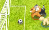 Juntos, estes cães e gatos formam uma equipa de futebol. Podes ajudá-los a ganhar o jogo?