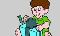 Este pequeno rapaz recebeu uma prenda no seu aniversário, e está prestes a desembrulhá-lo. Com algumas cores fazes um belo desenho, assim, faz o teu melhor!